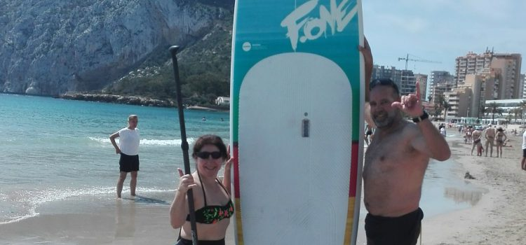 Couple from Valencia enjoying Stand Up Paddleboarding  in Calpe on May 1st!!